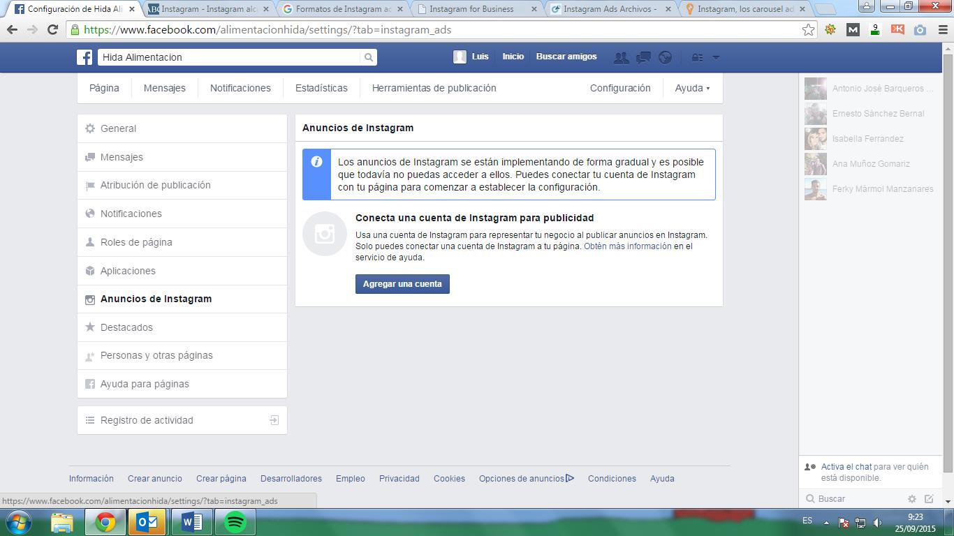 Configuración de página de fans de Facebook