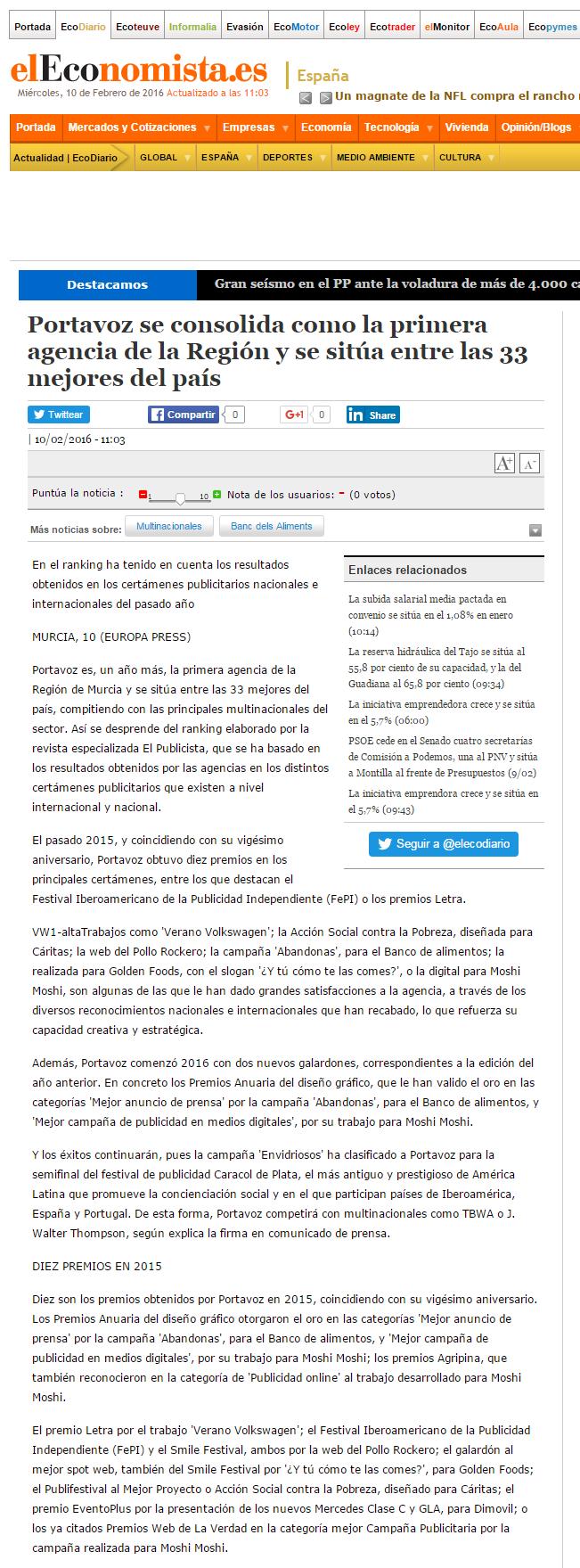 eleconomista.es 10-2-16 Portavoz